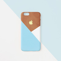iPhone case - Pastel blue layered wood pattern - iPhone 6 case, iPhone 6 Plus case, iPhone 5s case, Good Luck Gold Sticker, non-glossy L06
