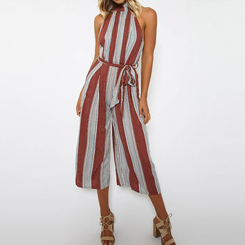 Striped Halter-neck Backless Casual Wide Leg Jumpsuit