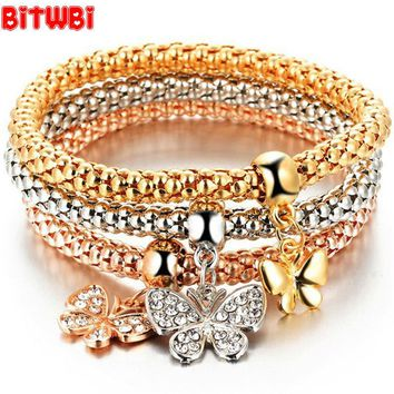 Trendy Three color 3 piece Bangle Suit Stretch Corn Chain Rhinestone love Popcorn Butterfly Heart Anchor Bracelet for Women
