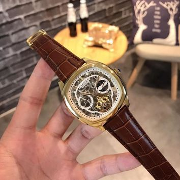 HCXX C030 Cartier Fashion Square Hollow Automatic Machinery Leather Watchand Watches Maroon White Gold
