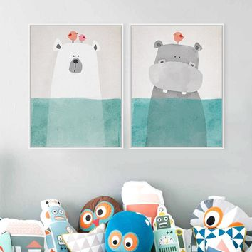 Modern Cute Animal Print Poster Nursery Wall Art Bear Hippo Penguin Picture Canvas Painting Kids Room Nordic Home Decor No Frame
