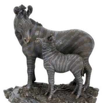 Mother Zebra with Baby Foal Bronze Statue 10.75H