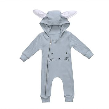 Cute Autumn Newborn Baby Girls Boys Clothes Long Sleeve Ears Hoodies Rabbit Romper Jumpsuit Cartoon Outfits Clothes