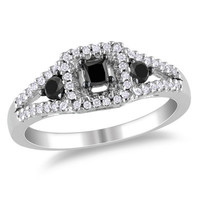 3.00 ct Black diamond  ring in 14 K with white diamond accents