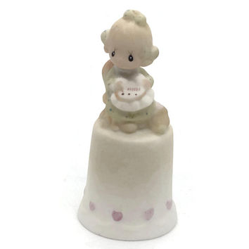 "Precious Moments ""Mother Sew Dear"", 1984 Mother's Day Thimble by Samuel Butcher"