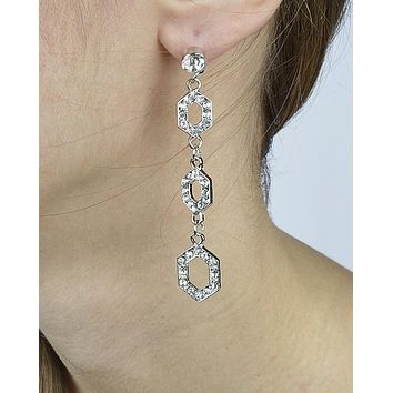3-Tiered Hexagonal Crystal Dangle Earring