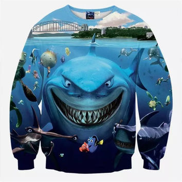 Finding Nemo Crew Neck Sweatshirt Men & Women Sharks Marlin Meets Dory Harajuku Style All Over Print Blue Sweater