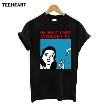 TEEHEART Vintage Fashion Girl Print Women T Shirt It is Not Cigarette Women Camiseta Top Retro Tops CW002