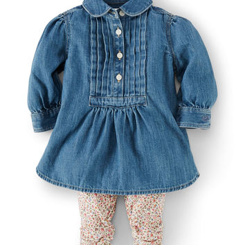 Long-Sleeve Denim Tunic & Floral Leggings, Blue, Size 9-24 Months,
