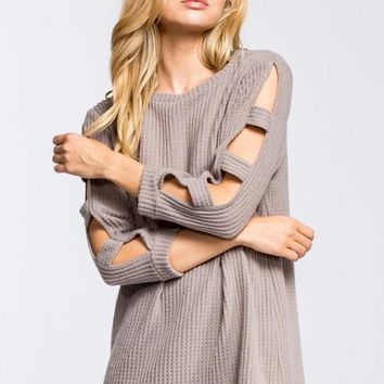 Open Sleeve Thermal Top - Taupe