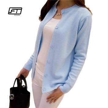 Fitaylor 2018 Autumn Round Neck Cardigan Sweater Long Sleeve Single Breasted Cotton Solid Color Slim Jacket