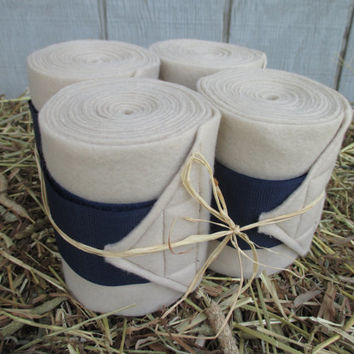 Set of 4 Polo Wraps for Horses- Tan with Navy Velcro Closure