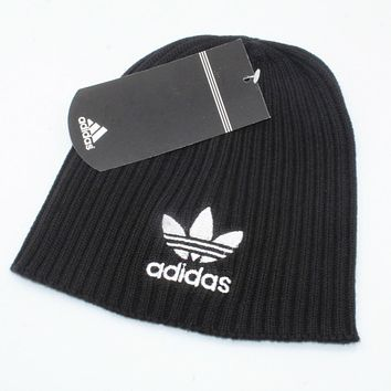 Adidas Autumn Winter Classic Popular Women Men Embroidery Knit Hat Warm Cap Black