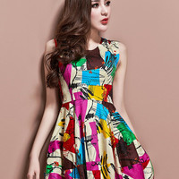 Harajuku Scrawl Printing Collect Waist Tank Dress - M L XL from Tobi's Finds