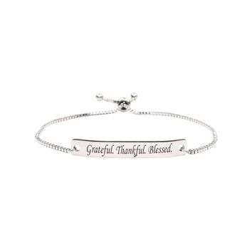 Fully Adjustable Inspirational Slider Bracelet  - GRATEFUL
