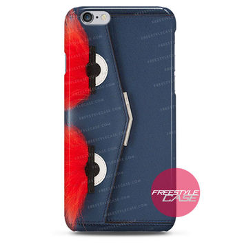 Leather Clutch with Fox Fur Navy Blue Red Eye-Fendi iPhone Case 3, 4, 5, 6 Cover