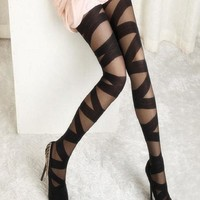 1 pcs Women Ripped Cut-out Bandage Ultra-thin Tights Elastic Slim Pantyhose Women Accessory