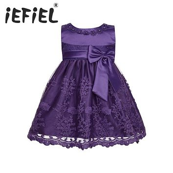 iEFiEL Embroidered Infant Baby Girls Toddler Sleeveless Floral Bow Flower Girl Dress Princess Pageant Birthday Party Lace Dress