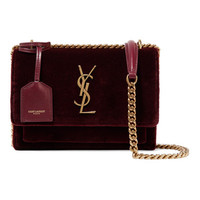 Saint Laurent - Sunset small velvet shoulder bag