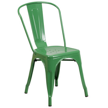 Flash Furniture Green Metal Indoor-Outdoor Stackable Chair [CH-31230-GN-GG]