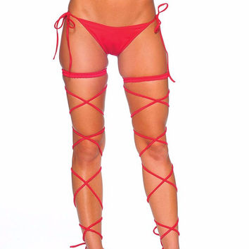Red Garter Set w/ Leg Wraps