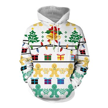 Christmas Gift Digital Print Women Drawstring Hooded Hoodie