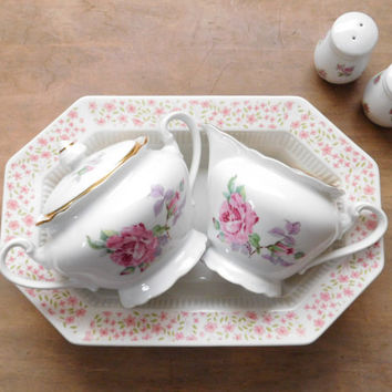 Mismatched China Tea Party Accessories - Ironstone Bowl, Sugar and Creamer, Salt and Pepper Shaker