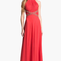 JS Collections Embellished Pleated Chiffon Gown | Nordstrom
