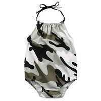 Newborn Infant Baby Girl Romper Sleeveless Belt Romper Jumpsuit Clothes Outfits Camouflage Set