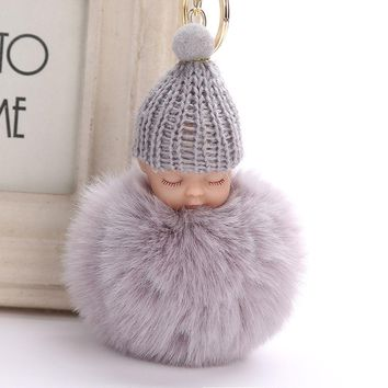 Fluffy Sleeping Baby Plush Doll Knitted Hat