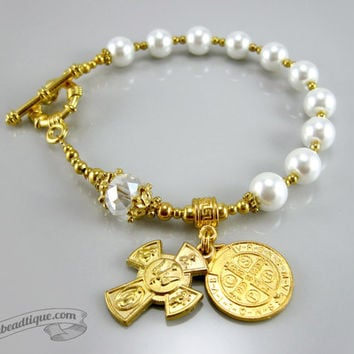 White Pearl Rosary Bracelet single decade rosary white chaplet catholic rosary Saint Benedict Medal rosary confirmation gift Four Way Cross