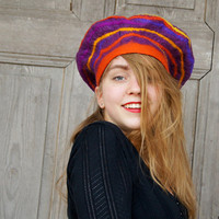 Unique funny nuno felted beret in vivid colors with geometric spiral design . OOAK