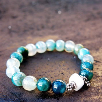 Ocean dragon agate and quartz stretch bracelet with Balinese silver beads and flower dangle - 5th chakra