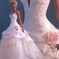 Elegant Ball Gown Sweetheart Satin&Organza Wedding Dress With Beading And Flower