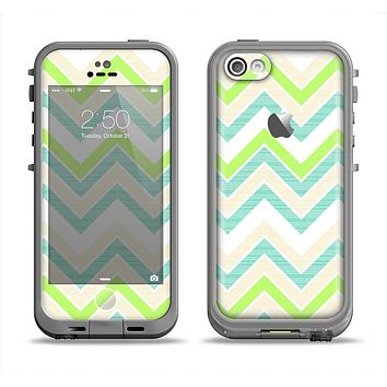 The Vibrant Green Vintage Chevron Pattern Apple iPhone 5c LifeProof Fre Case Skin Set