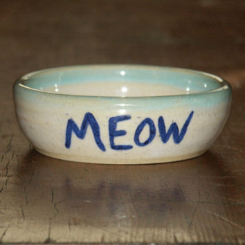 Pottery Cat Bowl wheel thrown and hand painted