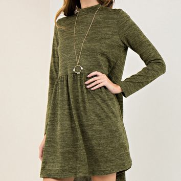 Olive Melange Knit Dress