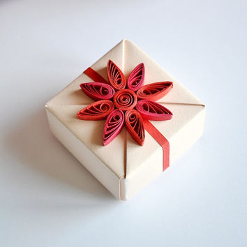 Small Beige Origami Gift Box with Red Floral Quilling Ornament