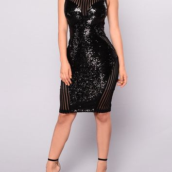 Black Patchwork Sequin Grenadine Glitter Bodycon Clubwear Party Midi Dress