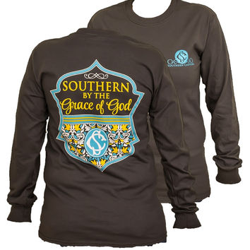 Southern Couture Preppy Southern By the Grace of God Floral Christian Girlie Long Sleeve Bright T Shirt