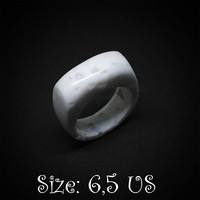 Size 6,5 US, White ring, White jewelry, White signet ring, Signet ring, Statement ring, Women ring, White stone ring, Women jewelry, Rings
