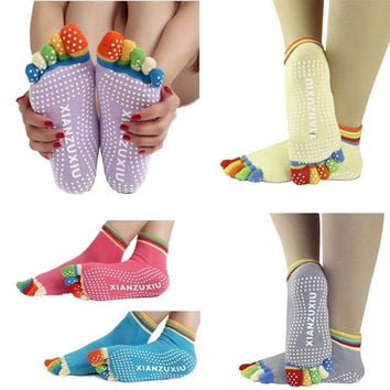 Summer Womens Girl 5-Toe Colorful Yoga Gym Non Slip Massage Toe Socks Full Grip = 1932747076