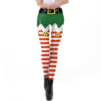 Stripe Belt Print Women Mid Waist Christmas Skinny Leggings