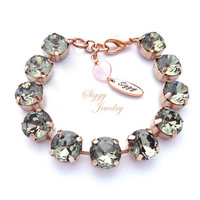 Crystal Tennis Bracelet, Necklace, Or 3 Piece Set, 11mm (47ss) Round Highly Faceted Chatons, Black Diamond, Assorted Finishes, Gift Packaged
