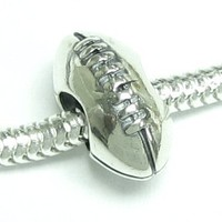 Sterling Silver American Football Rugby Ball Bead Charm For European Charm 3mm snake Chain Bracelets