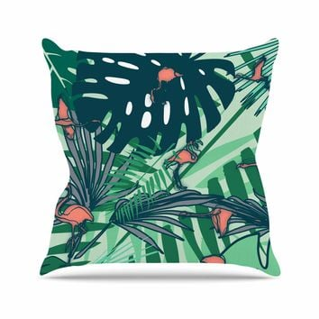 "bruxamagica ""Flamingo And Tropical Leaves"" Green Coral Animals Nature Illustration Digital Throw Pillow"