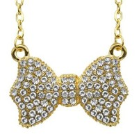 World Pride Clear Iced Out Gold Bow Tie Pendant Adjustable Link Chain Necklace