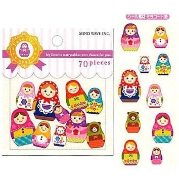 Colorful Russian Dolls Matryoshka Shaped Sticker Flake Seals From Japan | 70 Pieces
