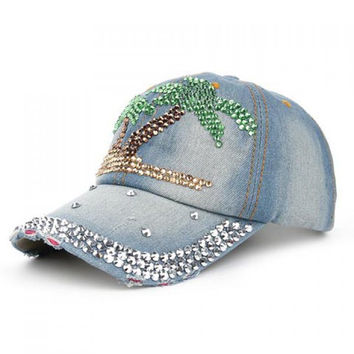 Chic Tropical Coconut Tree Shape and Rhinestone Embellished Baseball Cap For Women