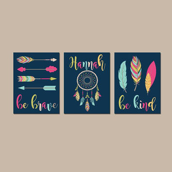 TRIBAL Girl Nursery Art- Baby Girl Tribal Nursery Wall Art - Tribal Girl Bedroom - Feather Arrows-Be Brave Be Kind-Set of 3 Canvas or Prints